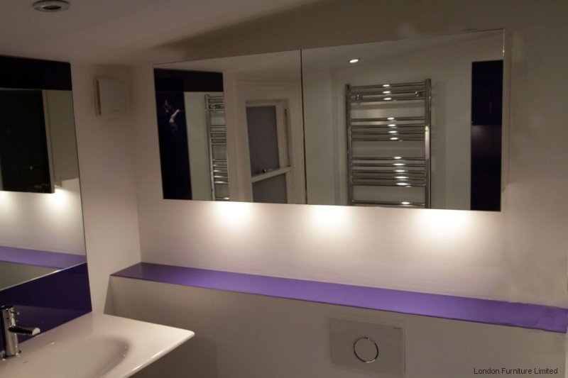 Mirrored Bathroom Cabinet Double Doors Bath Wall Mounted Storage Furniture White: Fitted Bathroom Furniture In London